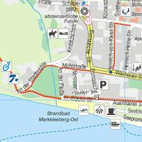 Verkleinerter Kartenausschnitt aus der Tourismus- und Freizeitkarte Markkleeberg 1:15.000
